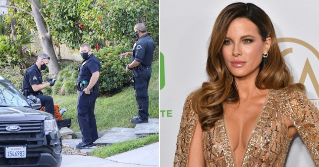 Kate Beckinsale and officers outside of her home