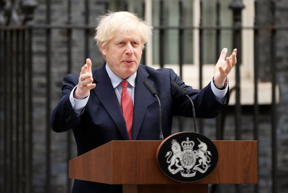 Britain's Prime Minister Boris Johnson speaks outside Downing Street after recovering from the coronavirus disease (COVID-19), London, Britain, April 27, 2020. REUTERS/John Sibley
