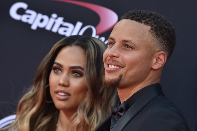 NBA player Steph Curry (R) and author Ayesha Curry