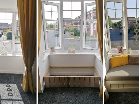 Mum creates window seat for under £30 using old pallet and cot mattress
