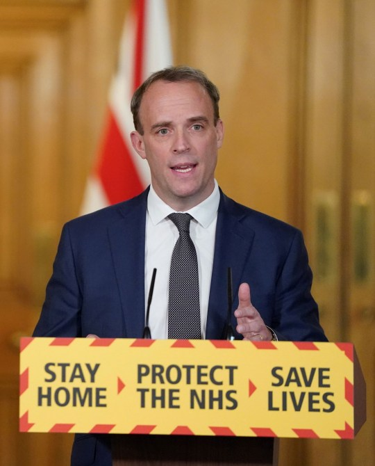 Britain's Secretary of State for Foreign affairs Dominic Raab speaks during a daily news conference to update on the coronavirus disease (COVID-19) outbreak held with Public Health England's (PHE) Medical Director Yvonne Doyle (not pictured) and Britain's Deputy Chief Medical Officer (DCMO) Jonathan Van Tam (not pictured), at 10 Downing Street in London, Britain April 29, 2020. Pippa Fowles/No 10 Downing Street/Handout via REUTERS THIS IMAGE HAS BEEN SUPPLIED BY A THIRD PARTY. NO RESALES. NO ARCHIVES. THIS IMAGE IS FOR EDITORIAL USE PURPOSES ONLY. THE IMAGE CAN NOT BE USED FOR ADVERTISING OR COMMERCIAL USE. THE IMAGE CAN NOT BE ALTERED IN ANY FORM.