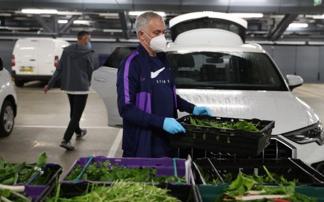 Jose Mourinho, Head Coach of Tottenham Hotspur delivers food produce from the Training Center to the Tottenham Hotspur Stadium food hub to aid the efforts against Covid-19