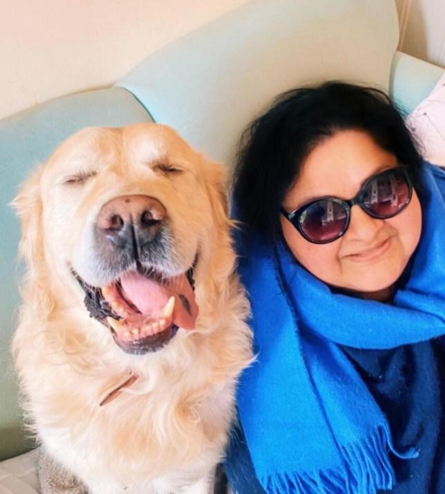 Dr Sarabajaya Kumar and her dog