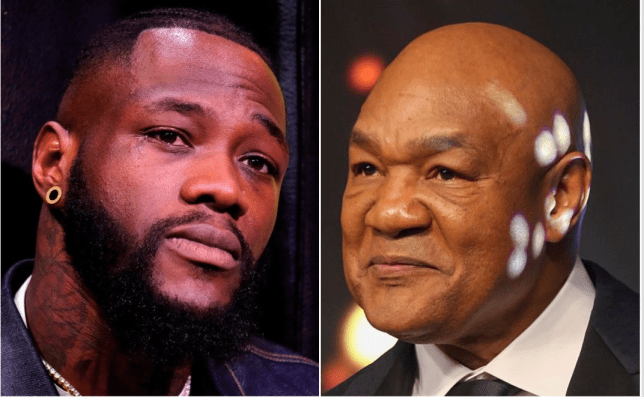 Side by side picture of heavyweights George Foreman and Deontay Wilder