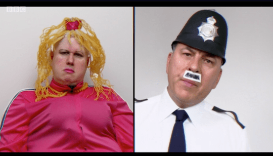 Matt Lucas as Vicky Pollard and David Walliams as a policeman on Little Britain on The Big Night In