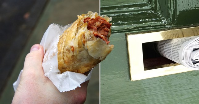 Man holding sausage roll (left) and newspaper going through letterbox (right)