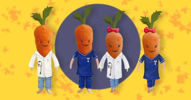 The limited-edition range of the Kevin and Katie the carrot dolls from Aldi in NHS outfits