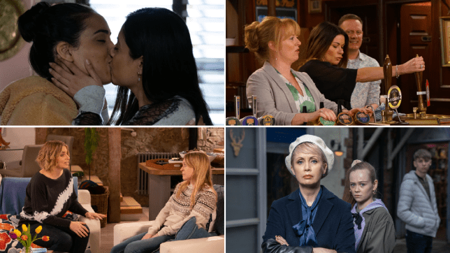 Ash and Iqra in EastEnders, Jenny, Carla and Sean in coronation Street, Vanessa and Charity in Emmerdale, Marnie, Juliet and Sid in Hollyoaks