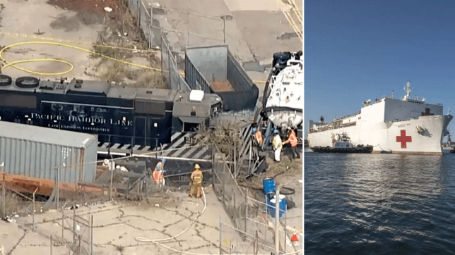 Photo of wrecked train next to file photo of Mercy hospital ship