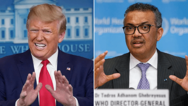 Photo of Donald Trump next to photo of WHO director Dr Tedros Adhanom
