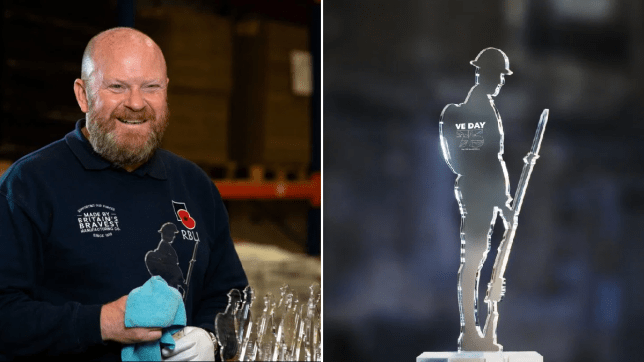 Tim Brown with some of the 25cm high perspex figures which were made by injured veterans in the RBLI's social enterprise factory. People in lockdown are being urged to show their support for this year\'s coronavirus-hit VE Day commemorations by placing a specially designed image of a Second World War soldier in their windows (left) and picture of VE Day 57th anniversary commemorative perspex figure (right)