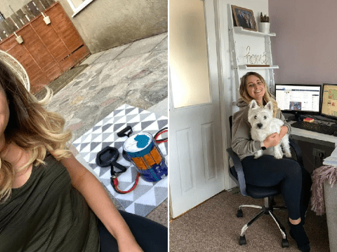 My Quarantine Routine: Emma, working from her dressing table and exercising using paint pots