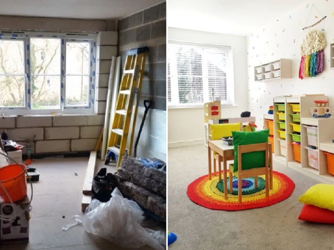 Mum turns garage into incredible rainbow-bright playroom for her two kids