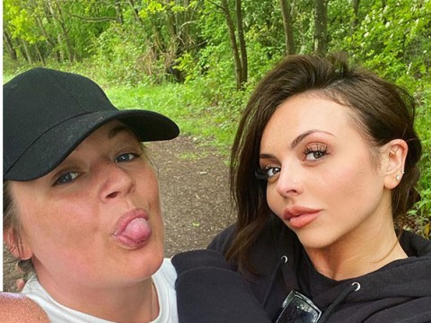 Jesy Nelson and pal rock fresh-faced looks as they 'dance in the woods' while isolating together