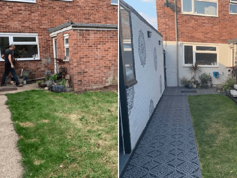 Woman completely transforms garden with simple £29 path stencil