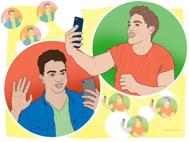 Illustration of two men on a their phones having a virtual chat