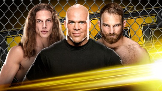 WWE NXT poster for Matt Riddle vs. Timothy Thatcher Cage Fight with Special Guest Referee Kurt Angle