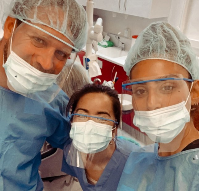 Dr Rhoda Eskander at work with her two colleagues.