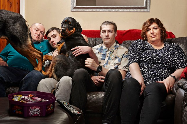 Television programme: Gogglebox, picture shows - The Malone family in Manchester.