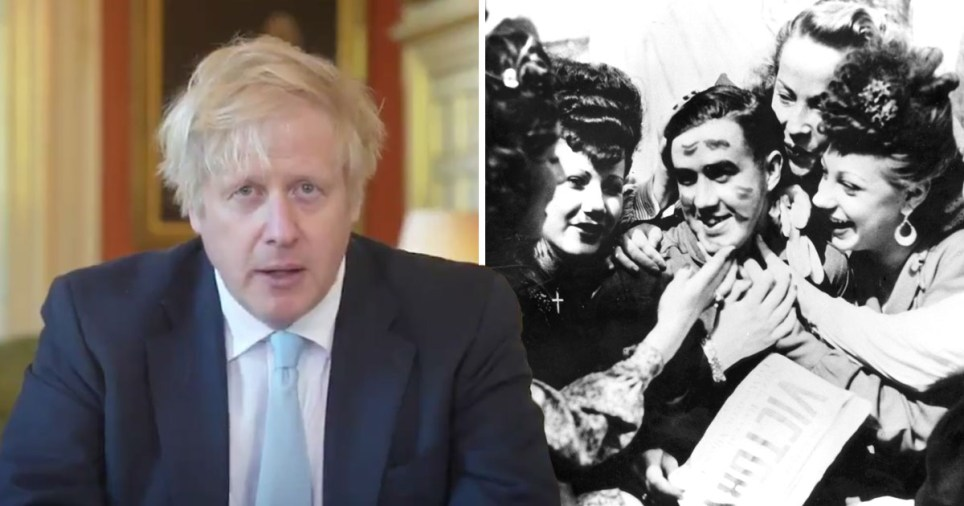 Prime Minister Boris Johnson giving VE Day 2020 speech (left) and people celebrating victory over the Nazis in 1945 (right)