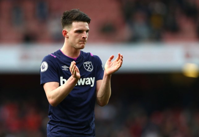Chelsea transfer target Declan Rice looks on after West Ham's Premier League clash with Arsenal