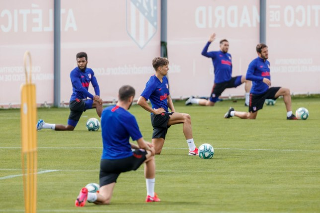 Atletico Madrid players in training on Saturday