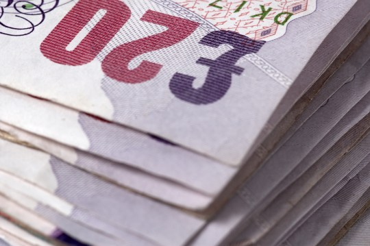 British twenty pound notes close-up