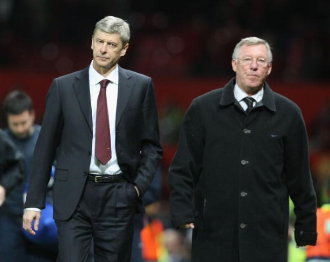 MANCHESTER, ENGLAND - APRIL 29: Managers Arsene Wenger of Arsenal and Sir Alex Ferguson of Manchester United walk off, at the final whistle of the UEFA Champions League Semi-Final first leg match between Manchester United and Arsenal at Old Trafford on April 29 2009, in Manchester, England. (Photo by Matthew Peters/Manchester United via Getty Images)