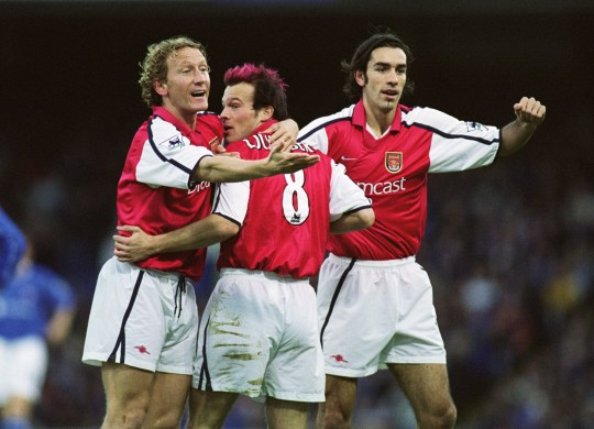 Ray Parlour, Robert Pires, Fredrik Ljungberg in action for Arsenal