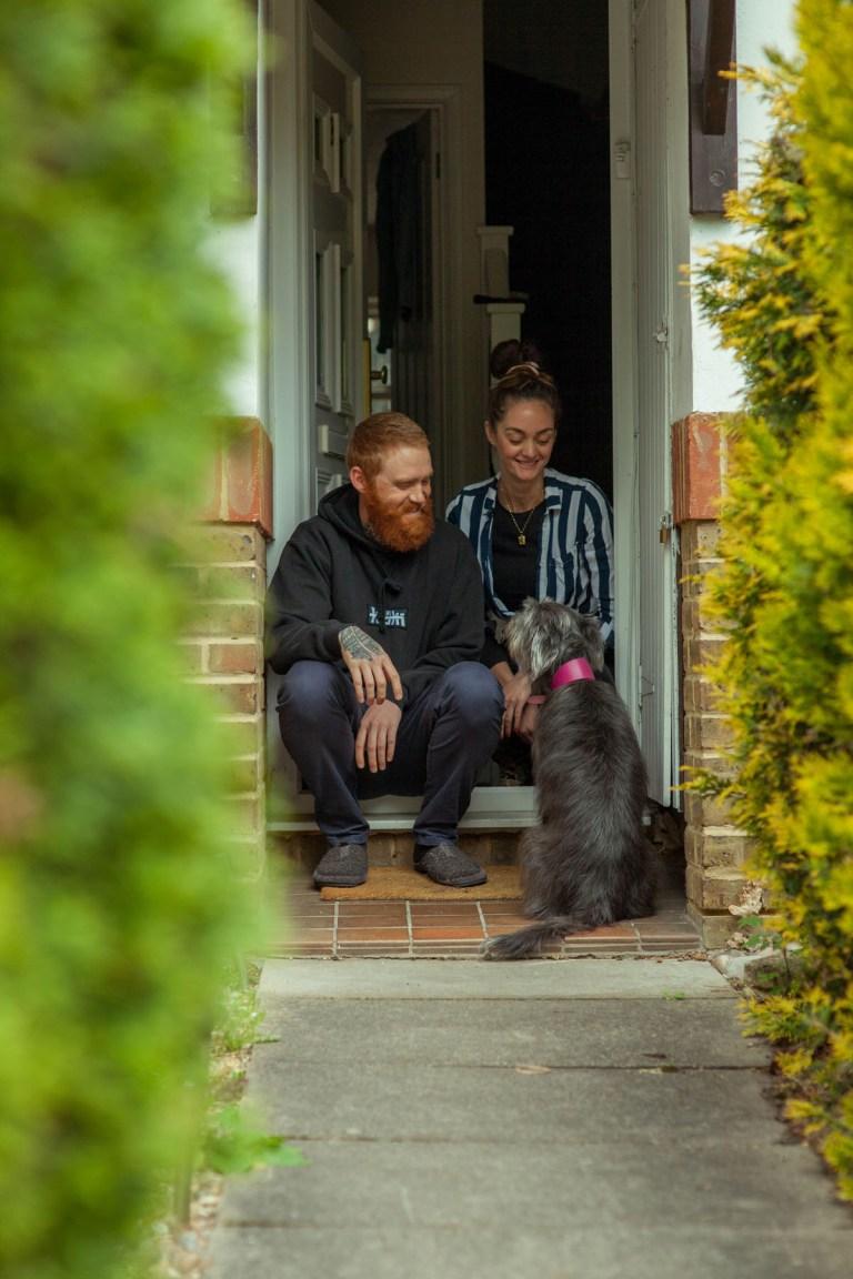 Fran Nelson's doorstep portraits: Kiefer, Natasha, and Mouse