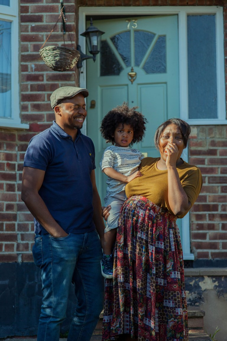 Fran Nelson's doorstep portraits: Tasha, Jason, and their three-month-old son