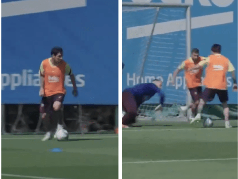 Lionel Messi looks better than ever with stunning goal in Barcelona training