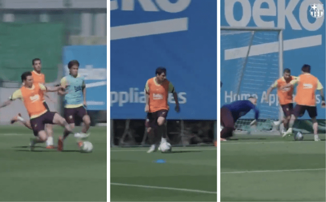 Lionel Messi scores stunning goal in Barcelona training