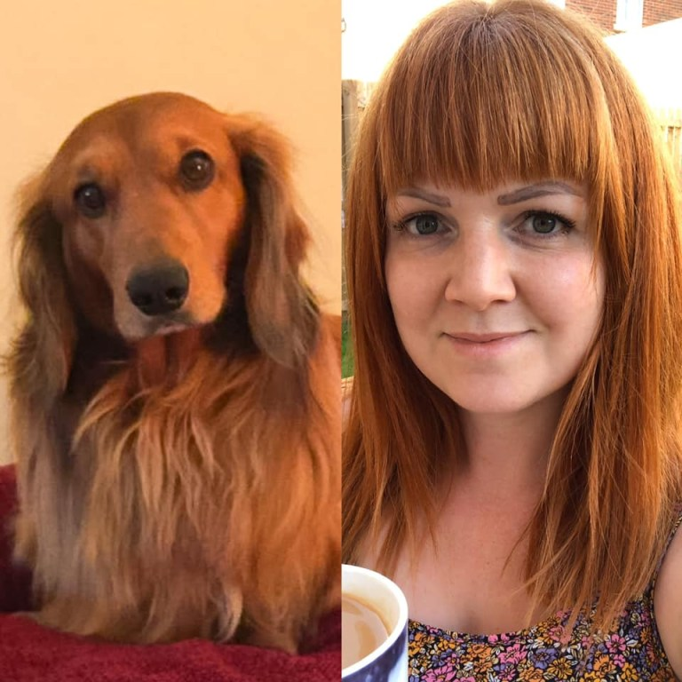 Monty, a standard longhaired Dachshund and owner Em, from Stockton-on-Tees.