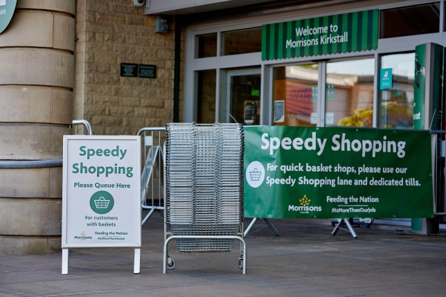 Morrisons Speedy Shopping signs outside a store