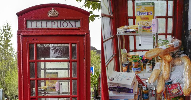 Phone box in Carrbrook, Greater Manchester, converted into foodbank by local residents during lockdown