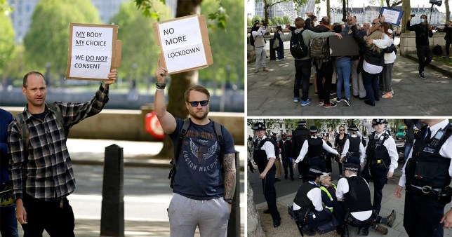 People take part in a coronavirus anti-lockdown, anti-vaccine, anti-5G and pro-freedom protest near Scotland Yard, the headquarters of London''s Metropolitan Police Service
