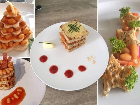 School students compete to make the best fine dining plate out of baked beans