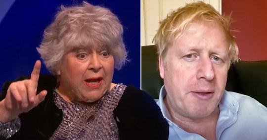 Miriam Margolyes and Boris Johnson