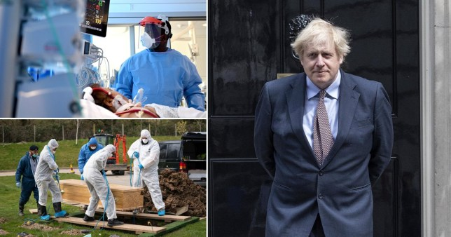 composite of boris johnson and health workers