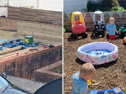 Neighbours transform car park into play area for young family without a garden