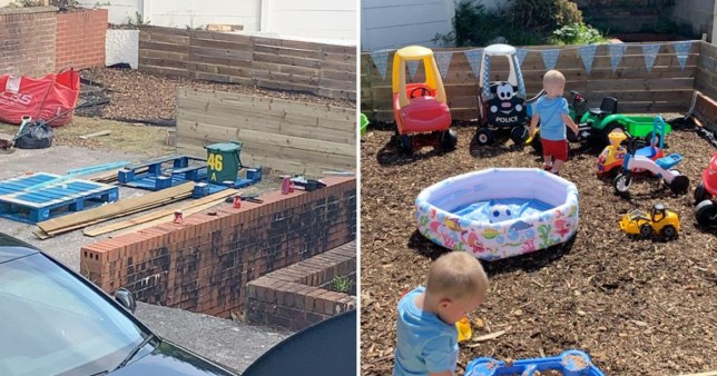 Before and after of car park turned into play area