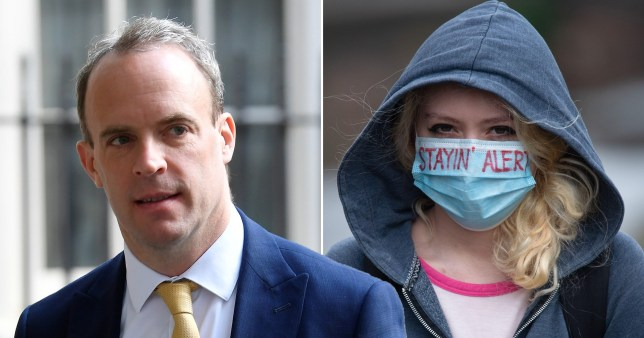 Dominic Raab said that from Wednesday, the public should cover their face if they are in an enclosed space with people who are not living in the same household