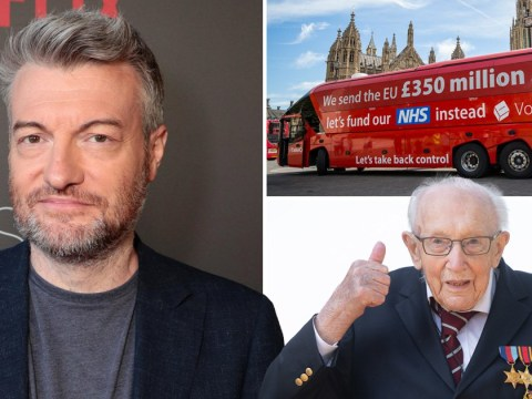 Charlie Brooker takes savage swipe at Boris Johnson as he compares Brexit battle bus vow of £350million a week for the NHS to Colonel Tom Moore