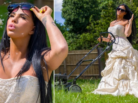 Katie Price inspired by Amanda Holden to rock wedding dress and  mow lawn as she dares Alan Titchmarsh to get in on it