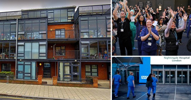 Block of flats on Brixton Water Lane, London, and NHS staff applauding. It comes as Housing Association Notting Hill Genesis has been criticised for raising discounted rent for NHS workers amid the coronavirus lockdown
