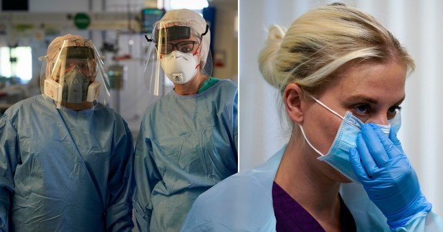NHS staff wearing personal protective equipment (PPE)