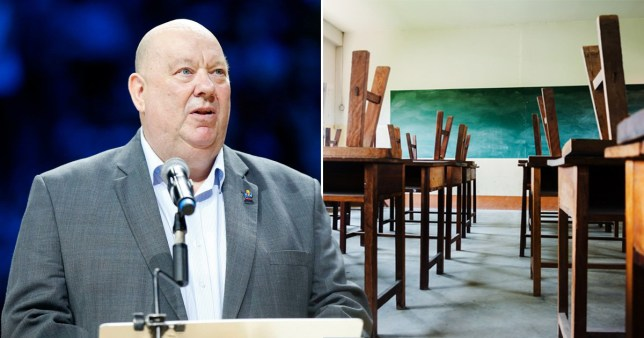 Mayor of Liverpool Coun Joe Anderson and image of empty classrooms as Liverpool City Council has told parents it does not expect to send children back to school from June 1