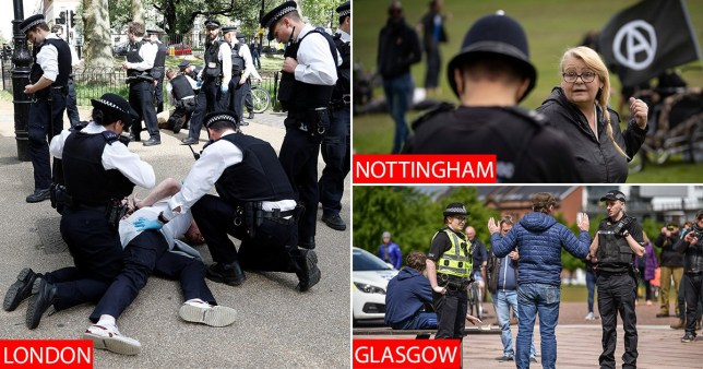 Small anti-lockdown protests took place across the UK on Saturday