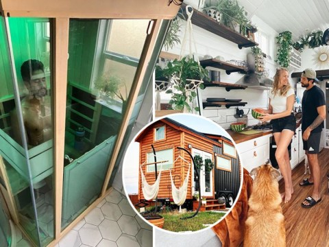 Couple create tiny dream home on wheels with £7,000 – and it even has a sauna